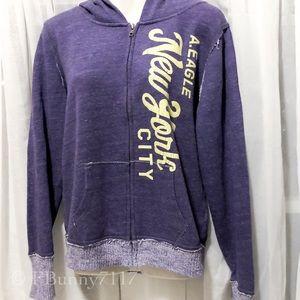 American Eagle AE purple full zip hoodie size lg
